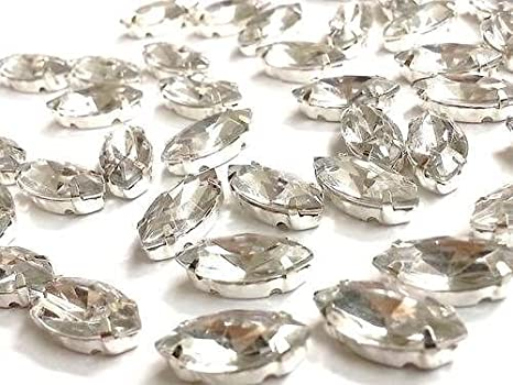 50 x AB Clear Sew on Acrylic Tear Drop Diamante Crystal Gem Rhinestone 7x15mm #1