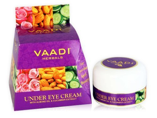 Vaadi herbals Natural Under Eye Cream - Almond Oil & Cucumber extract - Reduces the Appearance of Fine Lines and Wrinkles - Paraben Free - Sulfate Free - Unisex - All Skin Type - ( 30 GMS )
