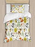 Kids Duvet Cover Set by Ambesonne, Woodland Forest Animals Trees Birds Owls Fox Bunny Deer Raccoon Mushroom Home and, 2 Piece Bedding Set with 1 Pillow Sham, Twin / Twin XL Size