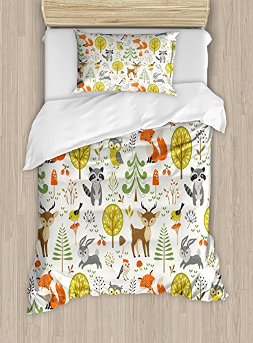 Woodland Comforter Set - Kids Duvet Cover Set by Ambesonne, Woodland Forest Animals Trees Birds Owls Fox Bunny Deer Raccoon Mushroom Home and, 2 Piece Bedding Set with 1 Pillow Sham, Twin / Twin XL Size