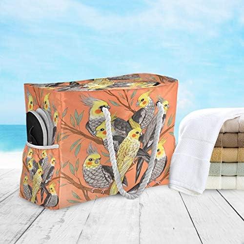 ビーチバッグ ビーチトートバッグ オウムの木の鳥 プールバッグ ショッピング 軽量 旅行 アウトドア 大容量 トイレタリー 手提げバッグ ピクニック 水泳バッグ 海水浴 温泉 ポケット付き リゾート