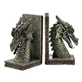 Koehler Detailed Sculpture Fierce Dragon Bookends, Hand-Painted Set of 2 Pieces