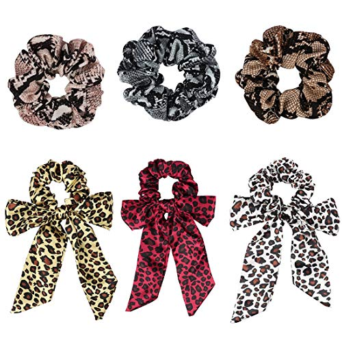 Jaciya 6 Pack Women's Leopard Scrunchies Animal Print Chiffon Bow Scrunchies for Hair Scrunchy Hair Ponytail Holder Elastic Bobbles Hair Ties Bands Scrunchie 6 Pieces (3 Crepe & 3 Leopard Scrunchies)
