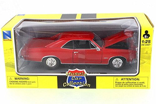 - New Ray 1966 Pontiac GTO, Red 71853A - 1/24 Scale Diecast Model Toy Car