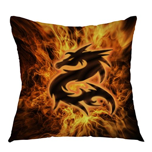 oFloral Decorative Throw Pillow Cover Fire Dragon Square Pillow Case Cushion Cover For Sofa Couch Home Bedroom Living Room Decoration 18 x 18 Inch Blue Pink Green