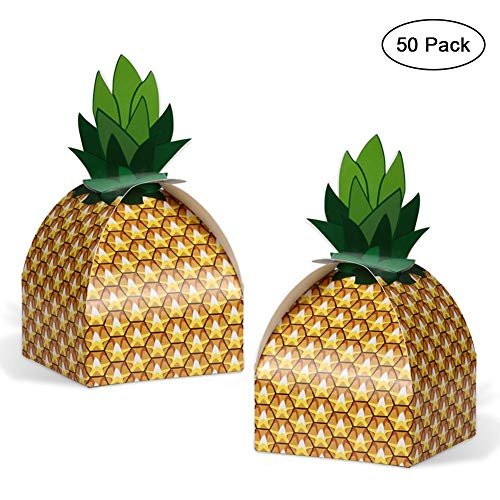 50pcs Pineapple Favor Boxes 3D Large Pineapple Party Favors Bags for Hawaiian Luau Pineapple Theme Party Decorations Summer Tropical Party Supplies ()