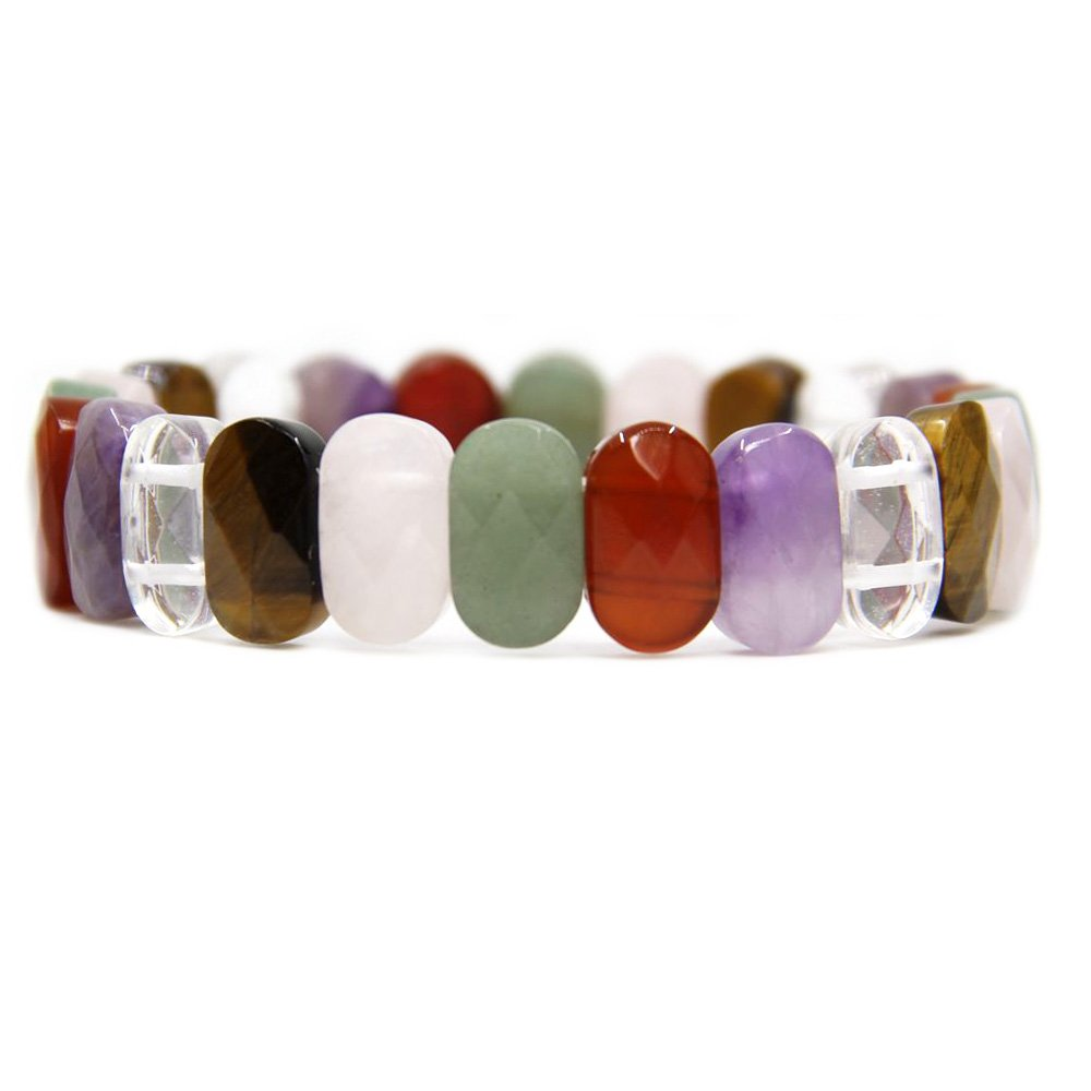 Amandastone Gem Semi Precious Gemstone 14mm Faceted Oval Beads Stretch Bracelet 7 Unisex AMAN-14mm-36