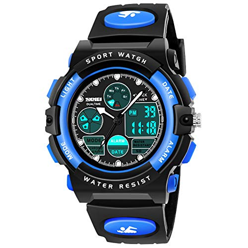 SOKY Gifts for Boys Age 6-15, LED 50M Waterproof Digital Watch for Kids Sports Watches Timer with Alarm Birthdat Present Christmas New Gifts for 6-15 Year Old Boys Xmas Stocking Fillers SKUSW02