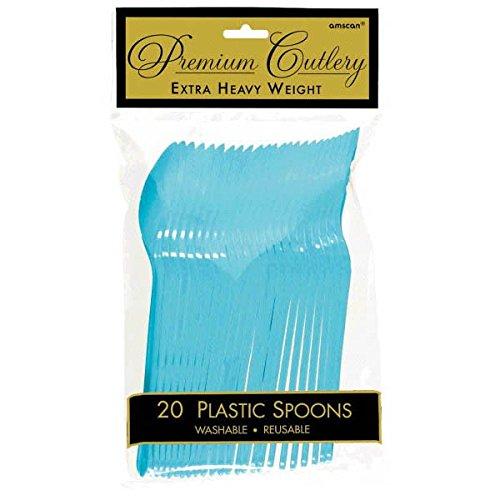Vibrant Caribbean Blue Premium Plastic Spoons, 20 Ct.