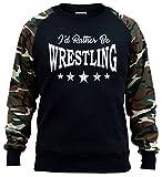 Interstate Apparel Men's I'd Rather Be Wrestling Black/Camo Raglan Baseball Sweatshirt Medium Black