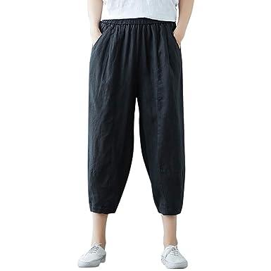 cinnamou Pantalones Mujer, Casual Pantalones Lino Ancho ...