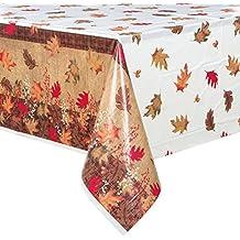 "Rustic Autumn Leaves Plastic Tablecloth, 84"" x 54"""