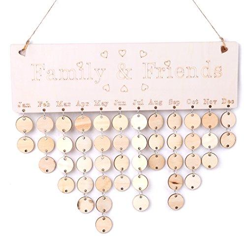 OrliverHL Creative Wooden Family Birthday Reminder DIY Calendar Board Home Decoration For Xmas Tag Bedroom Living Bathroom ,1#