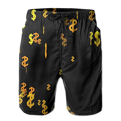 Tydo Quick Dry Beach Shorts Dollar Pattern Surfing Trunks Surf Board Pants with Pockets for Men L