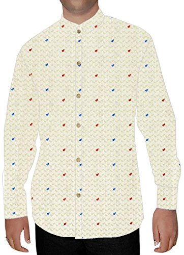 INMONARCH Mens Ivory Printed Nehru Shirt Polka Dot NSH16096XX-LARGE XX-Large Ivory for cheap