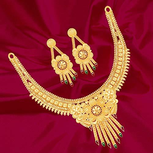 51otBysNgmL Mansiyaorange Brass Gold Plated Choker Necklace Set for Women (Multicolor)