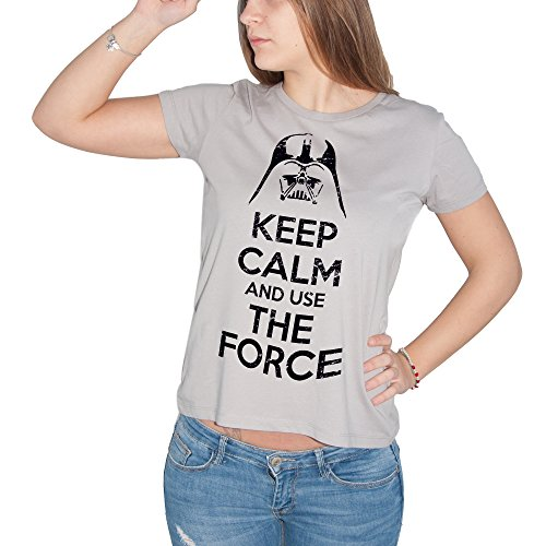 T-shirt keep calm Star Wars La Force – by Brain Factory – donna-xl-grigia