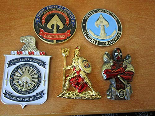 Set of 5 Navy Coin Challenge Coins CIA SAD Seal Team VI NSW Spartan Warrior Navy CPO Deadpool