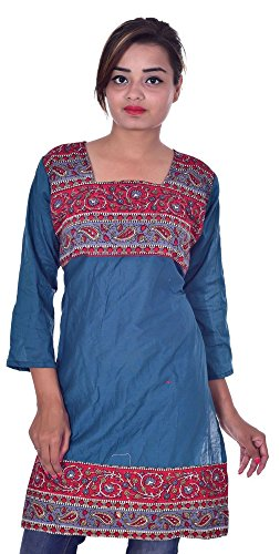 Indian-100-Cotton-Top-Paisley-Print-Kurta-Women-Ethnic-Tunic-Kurti-plus-size-Teal-Color