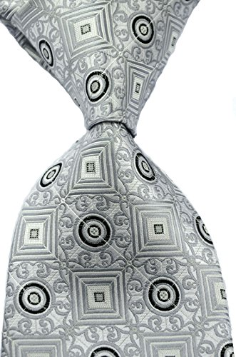 New Classic Plaid Checks JACQUARD WOVEN Silk Men's Tie Necktie (Gray)