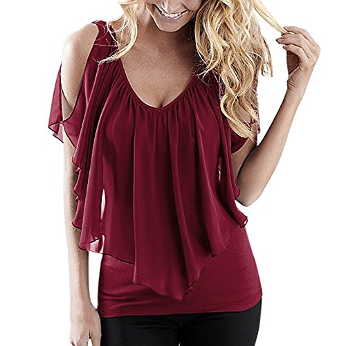 ✩HebeTop Women's V Neck T Shirts Casual Loose Hollow Out Shoulder Tops and Blouses Wine