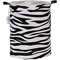 "Sea Team 19.7"" Large Sized Waterproof Coating Ramie Cotton Fabric Folding Laundry Hamper Bucket Cylindric Burlap Canvas Storage Basket with Zebra-Stripe Design"