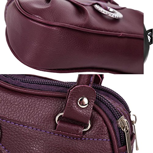 Bags Purple Bags Shoulder Women Elegant Clearance Casual Bag Purse Sale Bag Messenger Halijack Crossbody Ladies Zipper Handbag Two Bag Straps Pleated Leather Tote 1nBvqWf