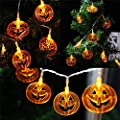AQV Halloween String Lights Pumpkin Lights with 16.4ft 40 LEDs Battery Operated Waterproof Halloween Decoration Lights for Indoor & Outdoor Holiday Party Series