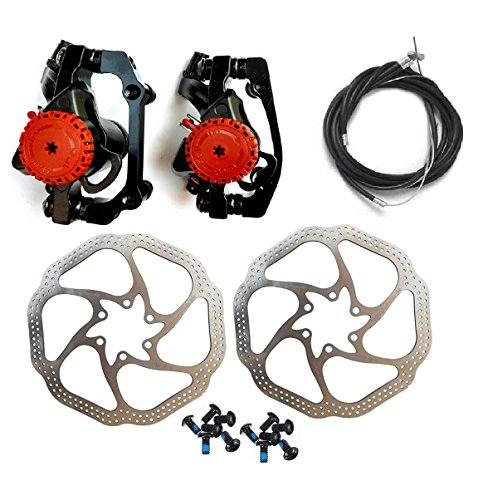 BlueSunshine HS1 Bike Disc Brake Kit - Mountain Bicycle Bike Mechanical Front and Rear 160mm Caliper Rotor BB5 BB7 whit Bolts and Cable (Bicycle Front Disc Brakes)