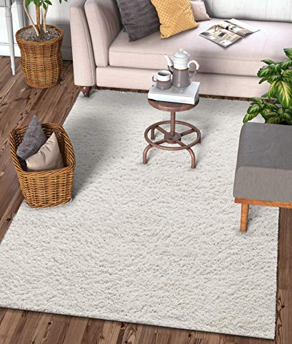 - Well Woven Solid Color Ivory Soft Shag Area Rug 5x7 (5'3