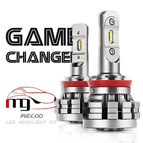 MIECOO H11 LED Headlight Bulbs H11 H8 H9 Car Light Conversion Kit, CSP Chips Super Clear Low Beam Bulb with Dual Cooling System, Waterproof IP68 7200LM 6000K Xenon White Headlight Bulbs ()