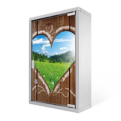 banjado - Medizinschrank 30x45x12cm Arzneischrank Design Edelstahl Medikamentenschrank mit Motiv Ausblick mit Herz