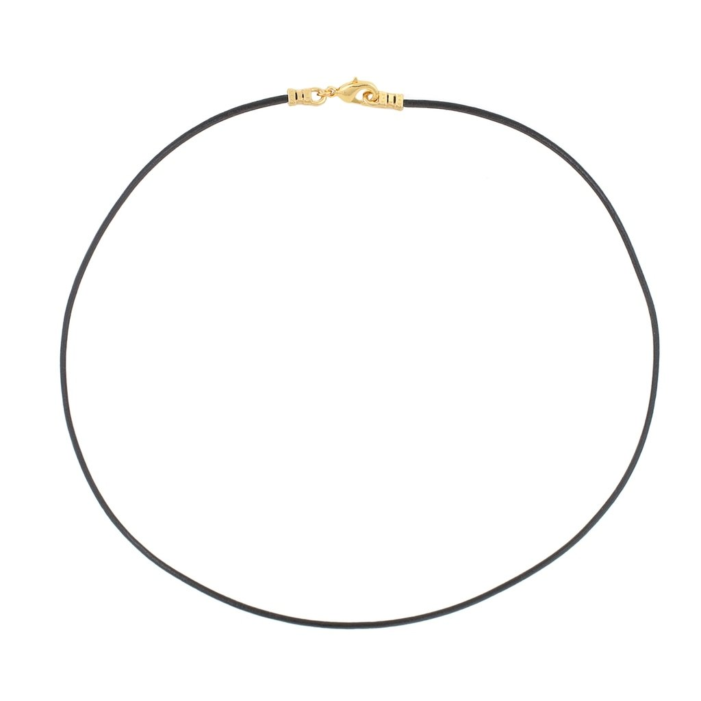 Gold Plated 1.8mm Fine Black Leather Cord Necklace - 24 inches by DragonWeave (Image #2)