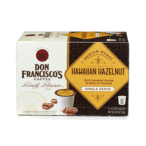 Don Francisco's Hawaiian Hazelnut, 12 count Single Serve Coffee Family Reserve (Pack of 6, Packaging May Vary) (Don Francisco Coffee K Cups compare prices)