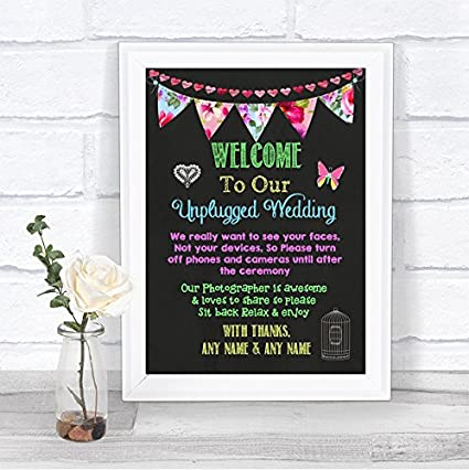 Cartel de boda con diseño de pizarra brillante, sin enchufe ...