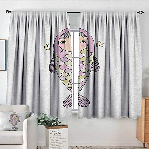 Insulating Blackout Curtains Mermaid,Fantasy Sea Life Mythological Character Girl in Fish Costume with Crown Moon Stars, Multicolor,Drapes Thermal Insulated Panels Home décor 42
