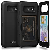 Galaxy A5 2017 Case, TORU [A5 2017 Wallet Case Black] Dual Layer Hidden Credit Card Holder ID Slot Card Case with Mirror for Samsung Galaxy A5 (2017) - Matte Black