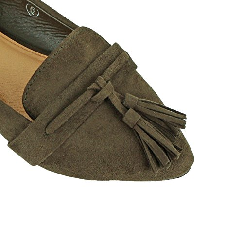 On Flats Olive Faux Toe Casual Espadrille Guilty Loafer Women's Oxford Suede Slip Pointy Heart Comfortable Tassel Suede IqxBxgwAp