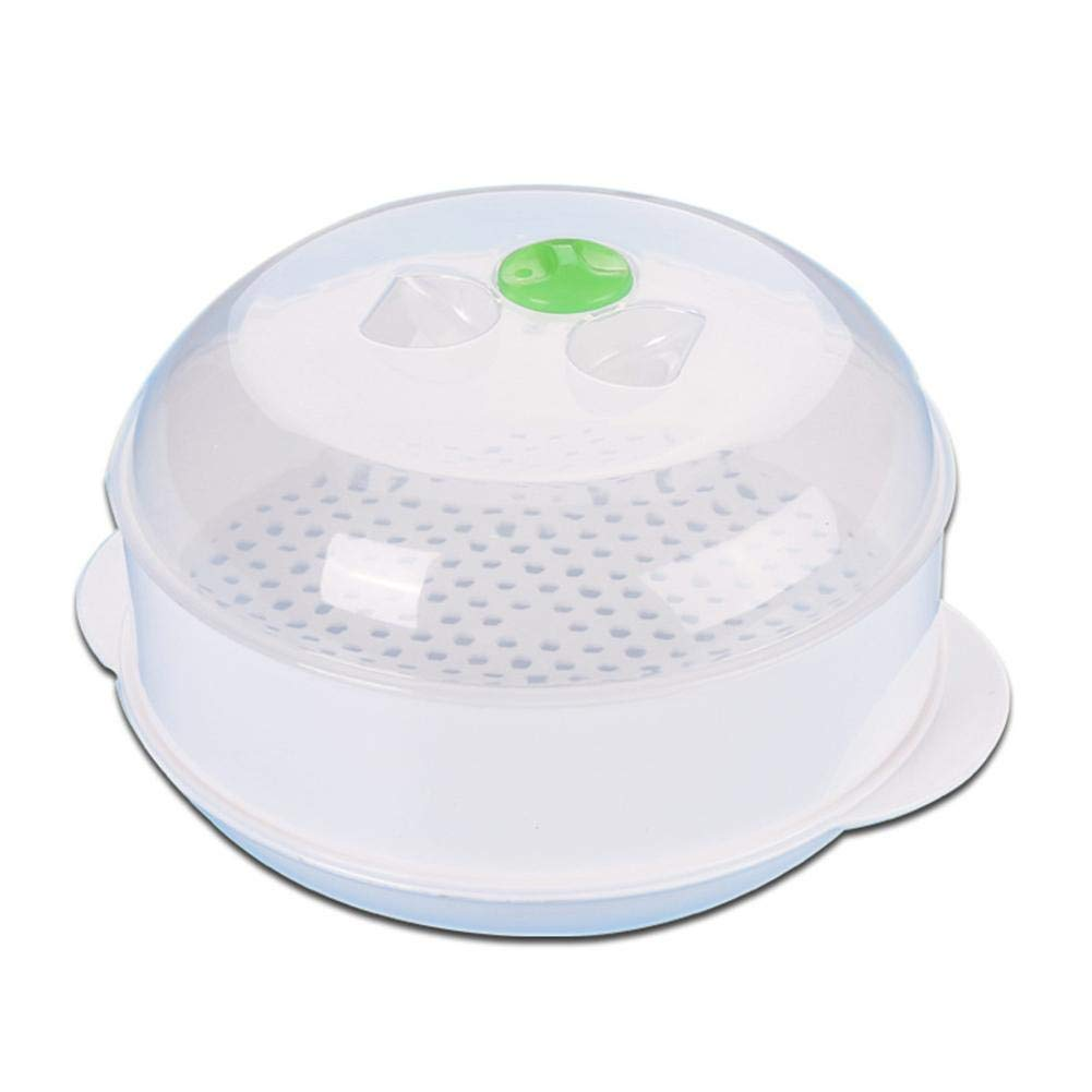 Microwave Steamer Round Plastic Steamer Vegetable Rice Cooking Pot Heat-resistant Single-Layer Microwave Oven Steamer with Lid Cooking Tool soundwinds