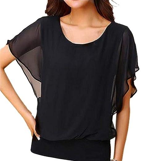 9654beb41ee33c Wugeshangmao Chiffon Tops for Women Plus Size Girls' Casual Batwing Sleeve  Solid T-Shirt