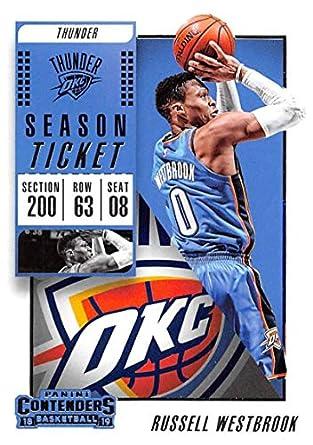 f71c2e0e9f02 2018-19 Panini Contenders Season Ticket  43 Russell Westbrook Oklahoma City  Thunder Basketball Card