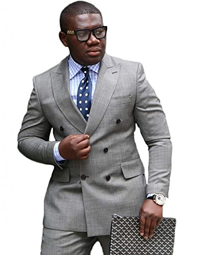 Botong Grey Double Breasted Wedding Suits for Men 2 Pieces Men Suits Groom Tuxedos 42 chest / 36 waist