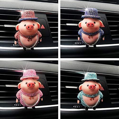 (dezirZJjx Car Aroma Clip, Cartoon Rhinestone Pig Car Air Vent Freshener Perfume Aroma Clip Diffuser Decor Pink)
