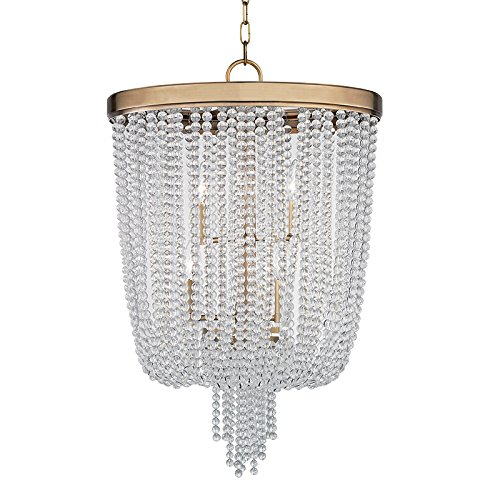 Pendants 6 Light with Aged Brass Finish Candelabra Base Bulbs 28 inch 240 Watts