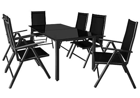 Deuba - Salon de Jardin 7 pièces Bern Noir - 1 Table avec Plateau en Verre,  6 chaises - Aluminium Dossiers Hauts inclinables - Ensemble de Jardin 6+1