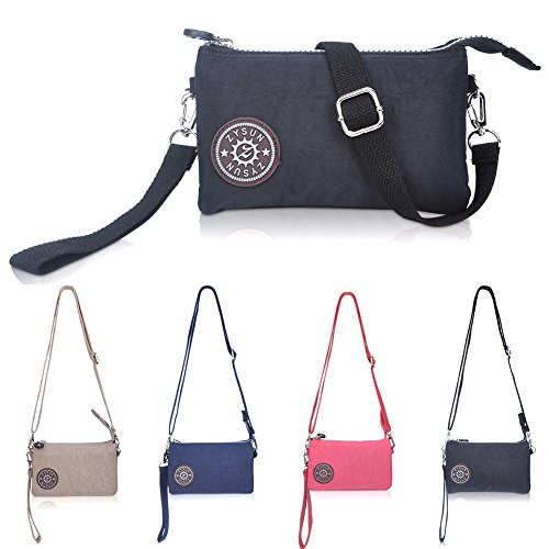 ZYSUN Women's Casual Nylon Wristlet Bag Multilayer Zipper Purse Clutch Handbag