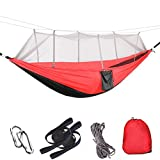 Lightahead Parachute Portable Camping Hammock (with Removable Mosquito Net) Including Straps, Carabiners & Rope– Heavy Duty Lightweight Best Nylon,Parachute Hammock For Camping, Travel, Garden etc.