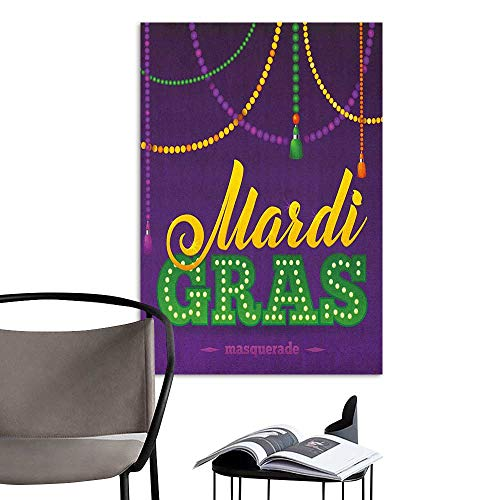 (Art Decor 3D Wall Mural Wallpaper Stickers Mardi Gras Beads and Tassels Masquerade Theme Calligraphy Design Fun Print Purple Marigold Fern Green bar Cafe Poster W20 x H28 )