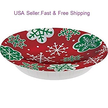 Disposable Plates Bowls Snowflake Red Green Christmas Party Theme Pack of 8  sc 1 st  Amazon.com & Amazon.com: 20 oz. Disposable Plates Bowls Snowflake Red Green ...