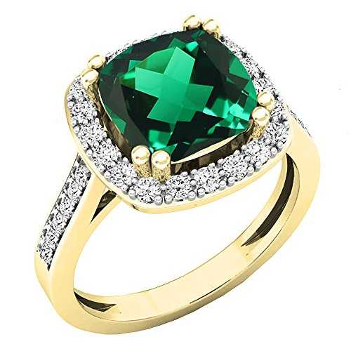 (Dazzlingrock Collection 10K 9X9 MM Cushion Lab Created Emerald & Round Diamond Engagement Ring, Yellow Gold, Size 7.5)